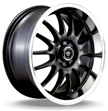W824 White Diamond Wheel (Mate Black/Polish Lip)