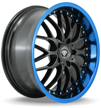 W901 White Diamond Wheel (Gloss Black/Blue Lip)