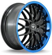 W901 White Diamond Wheel (Gloss Black/Blue Lip)