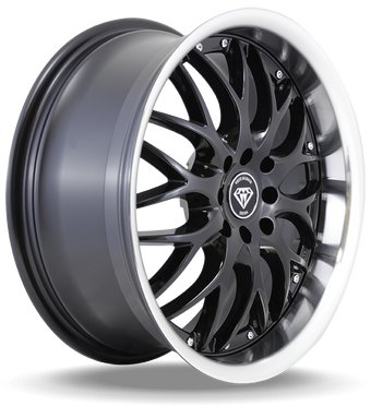 W901 White Diamond Wheel (Gloss Black/Chrome Lip)