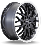 W901 White Diamond Wheel (Gloss Black/Chrome Lip)