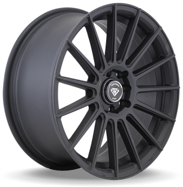 W3193 White Diamond Wheel Matte Black, Black Polish