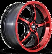 W511 White Diamond Wheel (Black/RedFace)