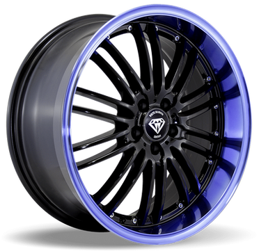 W820 White Diamond Wheel (Black/Blue Lip)