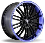 W820 White Diamond Wheel (Black/Blue Lip)