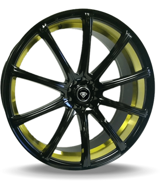 W3195 White Diamond Wheel Glossy Black / Inner Gold