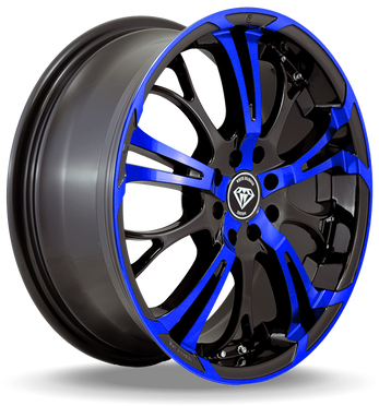 W667 White Diamond Wheel (Black/Blue Face)