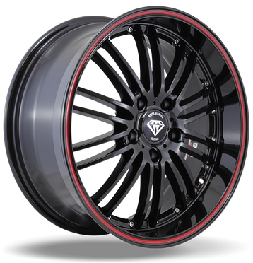 W820 White Diamond Wheel (Black/Red Line)