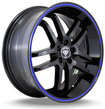 W817 White Diamond Wheel (Black/Blue Line)