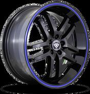 W817 White Diamond Wheel (Black/Blue Line)