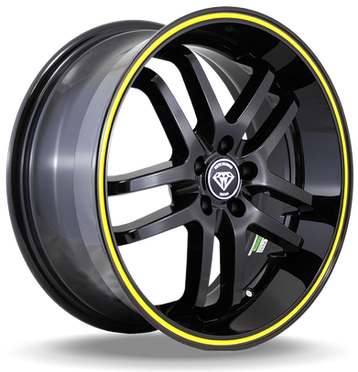 W817 White Diamond Wheel (Black/Yellow Line)