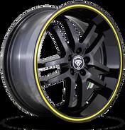 W817 White Diamond Wheel (Black/Yellow Line)