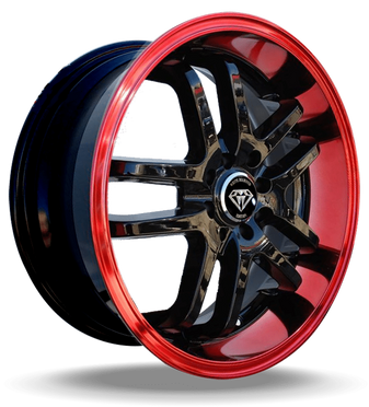 W817 White Diamond Wheel (Black/Red Lip)