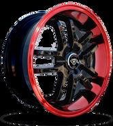 W817 White Diamond Wheel (Black/Red Lip)