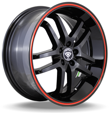 W817 White Diamond Wheel (Black/Red Line)