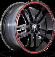 W817 White Diamond Wheel (Black/Red Line)