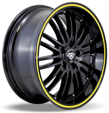 W820 White Diamond Wheel (Black/Yellow Line)