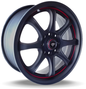 W359 White Diamond Wheel (Matte Black/Red Line)