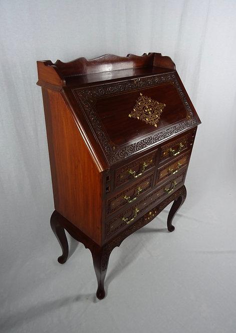 Vintage Brass Inlay Queen Anne Style Bureau/Desk