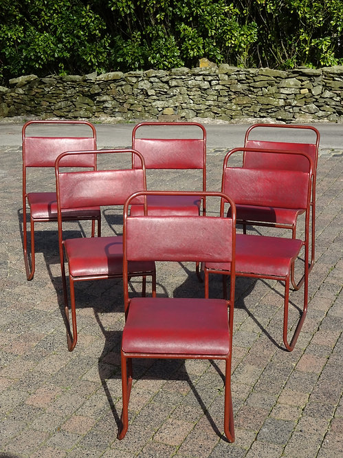 A Set of 6 PEL Tubular Metal Framed Vintage Stacking Chairs