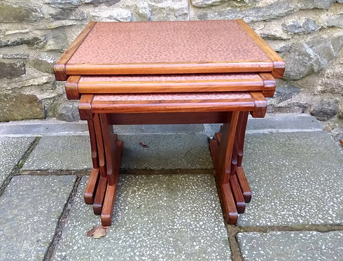 G Plan Nest of 3 Copper and Teak Tables