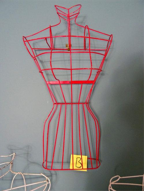 Vintage Shop Display Female Red Wire Mannequin (B)
