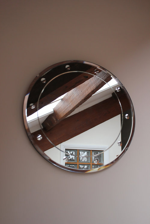 Vintage Circular Frameless Art Deco Wall Mirror