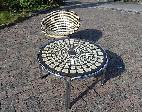 Retro Geometric Patterned Chrome Circular Coffee Table