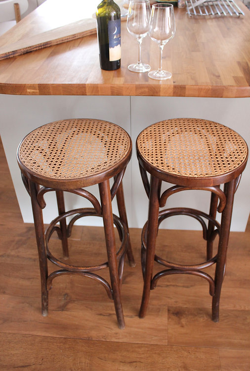 A Pair of Thonet Style Bentwood and Cane Kitchen Bar Stools