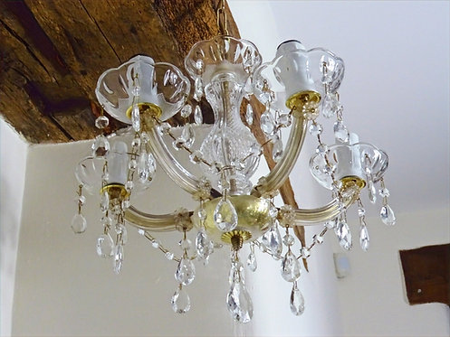 Vintage French Style Cut Glass Chandelier