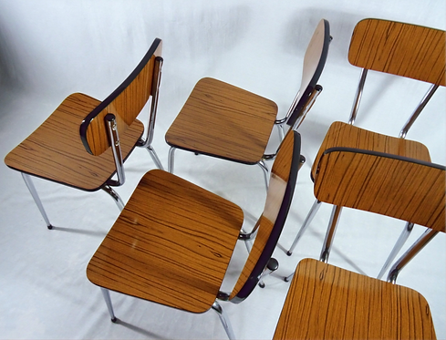 Set of 5 Vintage French Formica Kitchen Chairs