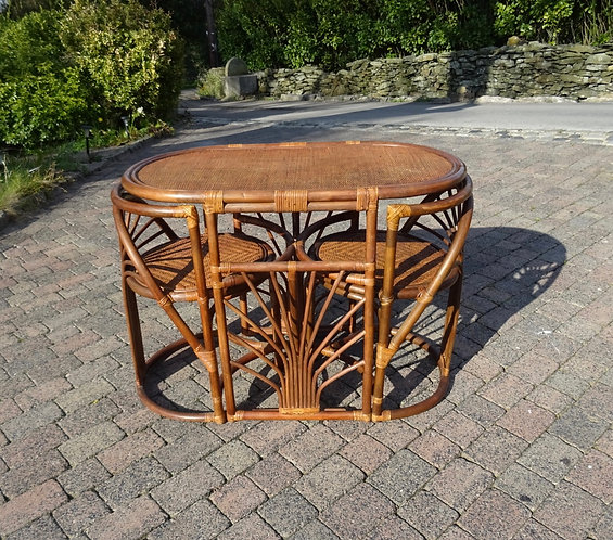 1970's Boho Compact Bamboo Cane Table And Chairs