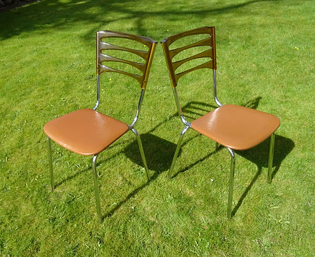 A Rare Pair of Keron of London Vintage Kitchen, Dining Chairs.