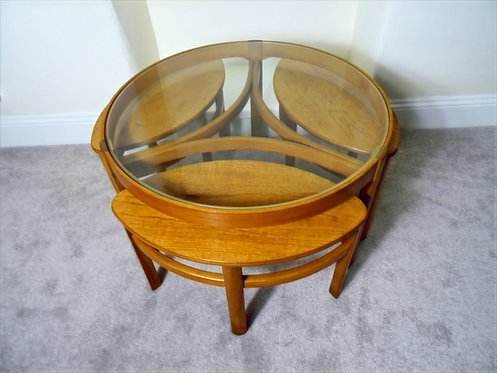 Mid Century Nathan Trinity Circular Coffee Table and  Nest of Teak Tables