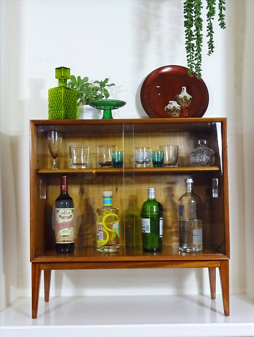 Mid-century Teak Glass fronted Display Drinks Cabinet