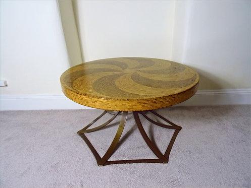 Wooden Mosaic Circular Coffee Table