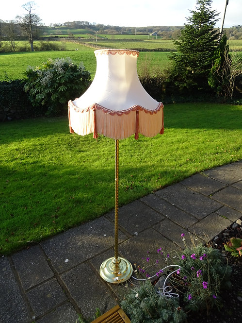 Vintage Victorian Style Brass Floor Lamp with Tasselled Lampshade
