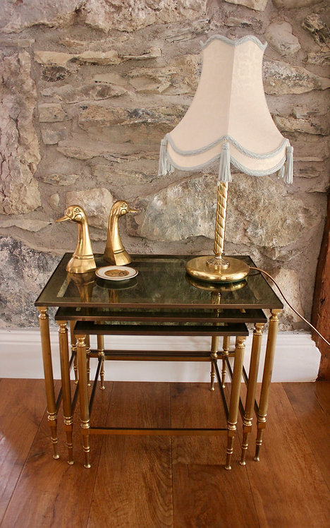 Vintage Brass and Glass Nesting Tables