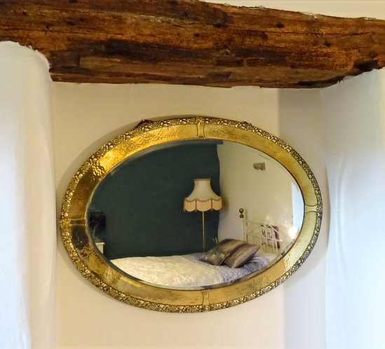 Large Arts and Crafts Brass Bevelled Mirror