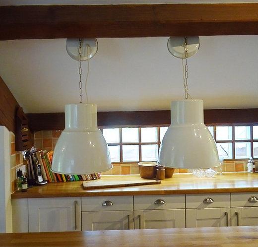 Two Large Vintage Industrial Lights