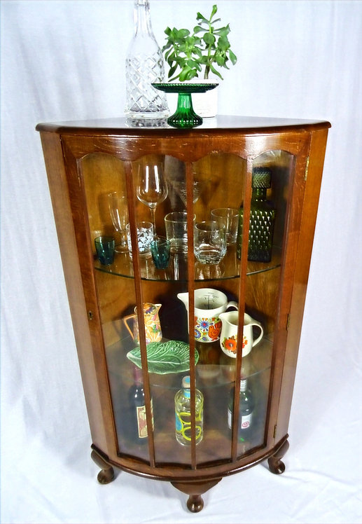A Vintage Walnut Veneer  Corner Drinks/Display Cabinet by Turnidge of London