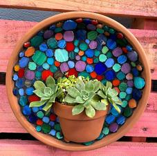 Half terracotta pot wall hanging