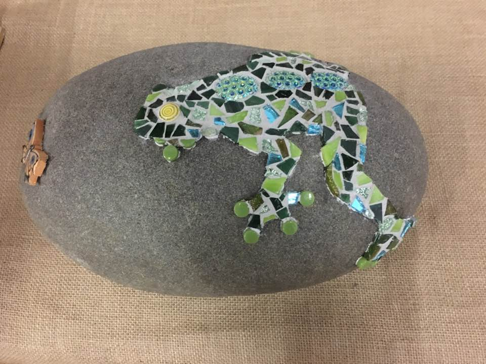 mosaic frog on rock