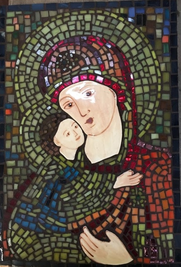 mosaic mother and child
