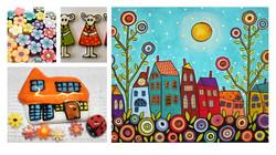 mosaic whimsical houses