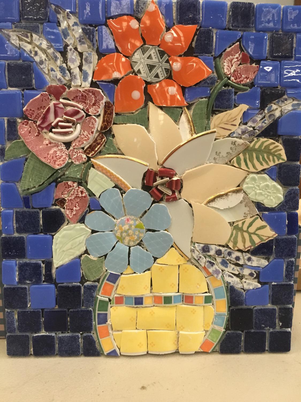 mosaic flowers picassiette