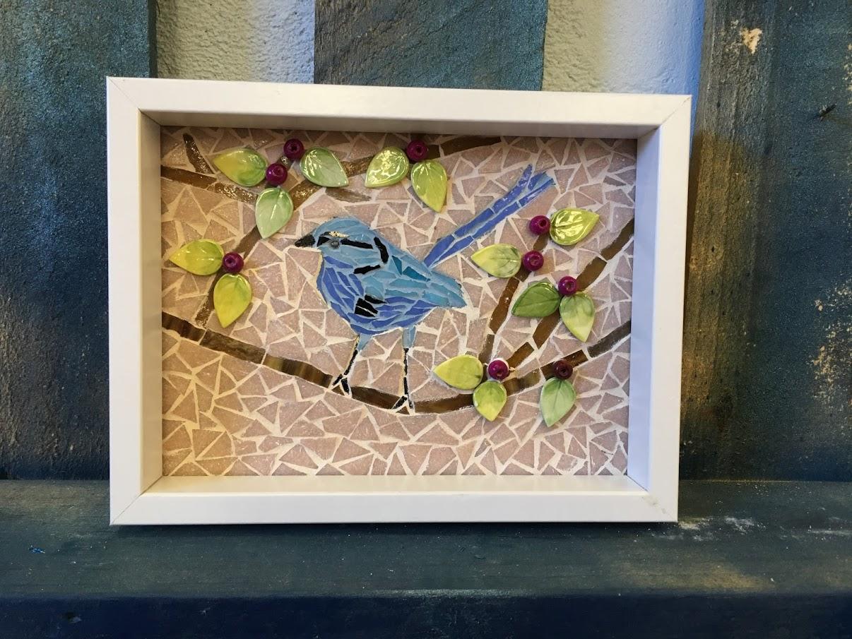mosaic blue bird
