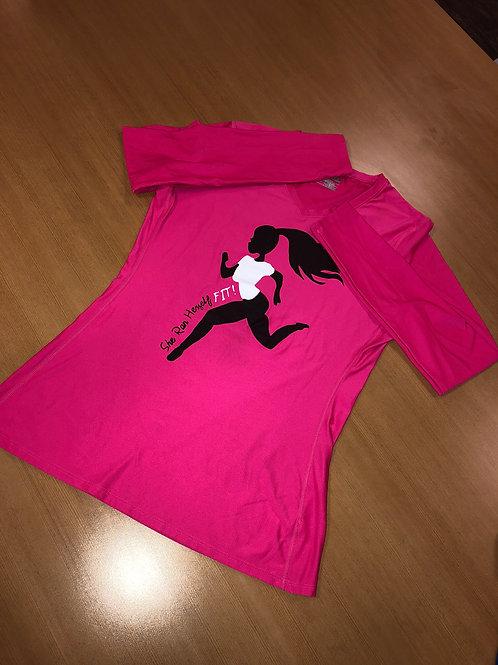 Logo Long Sleeve Runners Shirt V-Neck - Logo on front (Women)