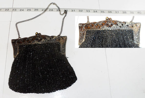 1920s Art Deco Silver and Black Beaded Purse