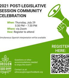 Oregon Food Bank's Virtual Post Legislative Community Celebration